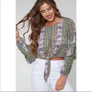 Boho Chic tie front top by Peach Love California